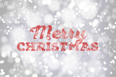 bright lights: Red Merry Christmas typography on silver bokeh background poster. Christmas lettering on bright defocused lights background Illustration
