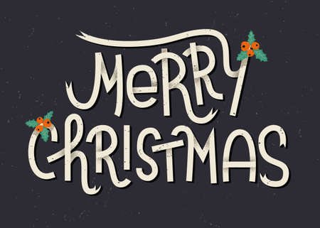 Merry Christmas lettering. Typographic greeting card with dark background Çizim