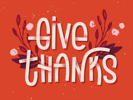 Dar gracias letras. Tipografía inspirada tarjeta de felicitación con la tipografía colorida Ilustración de vector
