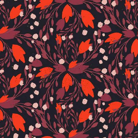 colores calidos: estampado de flores orgánico en colores calientes ricos