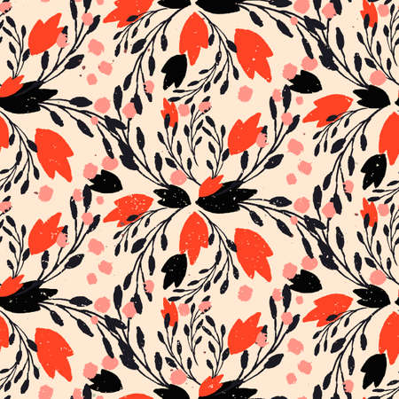 rich black wallpaper: Organic floral pattern in rich warm colors