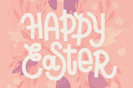 muted: Happy Easter, muted pastel pink greeting card with custom lettering Illustration