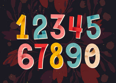 folded hand: Colorful set of hand drawn numbers, folded paper numbers for your designs