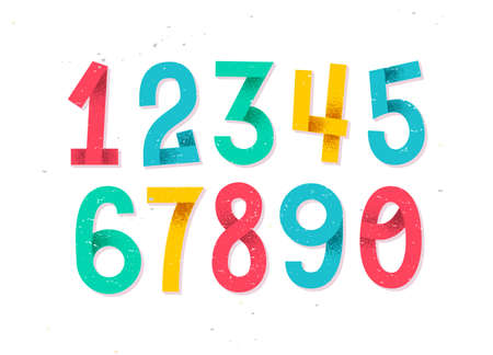 Colorful set of hand drawn numbers isolated on white, folded paper numbers for your designs  イラスト・ベクター素材
