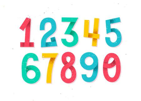 Kleurrijke reeks hand getrokken die aantallen op witte, gevouwen document aantallen voor uw ontwerpen worden geïsoleerd