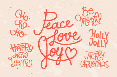 phrases: Collection of hand written Christmas phrases for invitations, greeting cards and other designs Illustration