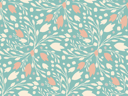 muted: Organic floral pattern in muted green color Illustration