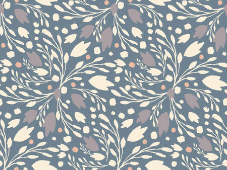 cold colors: Organic floral pattern in muted cold colors