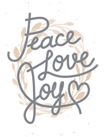 平和、愛、喜びの招待状、グリーティング カード、その他のデザインの黄金の花輪の引用クリスマス レタリング 写真素材 - 63730336