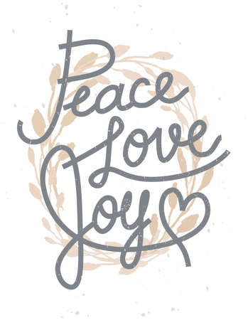 Peace, love, joy Christmas lettering quote with a golden wreath for invitations, greeting cards and other designs