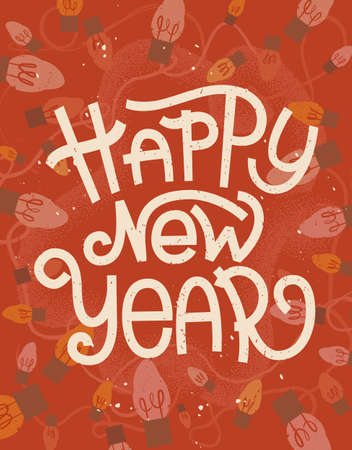 Happy New Year lettering. Retro greeting card with christmas lights on red background Illustration