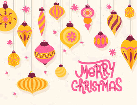 cute christmas: Festive Christmas greeting card with 50s retro style christmas ornaments Illustration