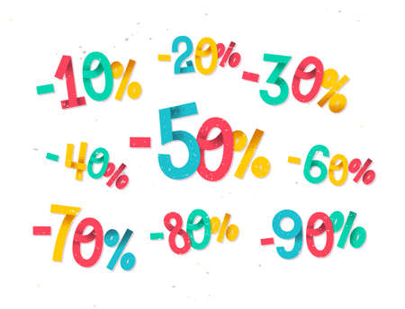 retail sales: Colorful discount percentages, fun  childish folded paper style numbers for sales promotions and discounts in retail industry Illustration