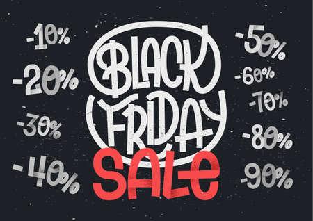 販売および割引のデザインのためのパーセント数の黒い金曜日レタリング  イラスト・ベクター素材