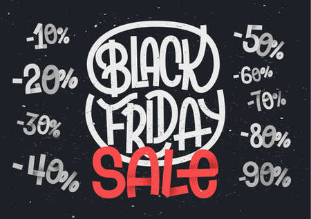 Black Friday lettering with percentage numbers for sales and discount designs 向量圖像
