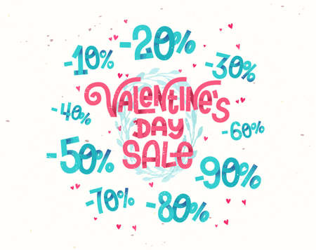 girly: Valentines day sale, discount percentages in cute girly cartoon style numbers for sales promotions and discounts