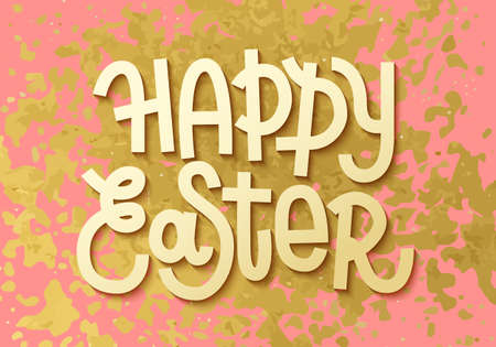 Happy Easter. Gold leaf boho chic style greeting card with shiny glitter splash and custom golden lettering