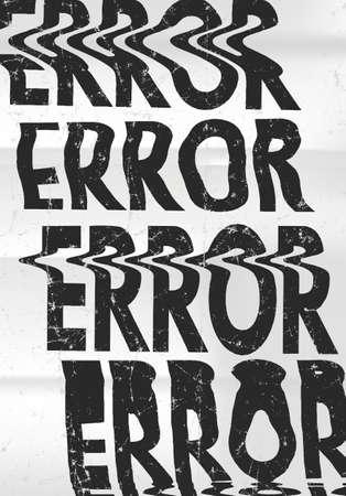 Glitched エラー メッセージ アート活版印刷のポスター。あなたの創造的なデザインのため故障しやすい言葉 写真素材 - 64090176