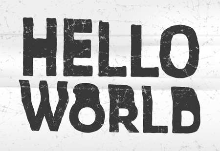 jammed: Hello world glitch art typographic poster. Glitchy words, coding concept