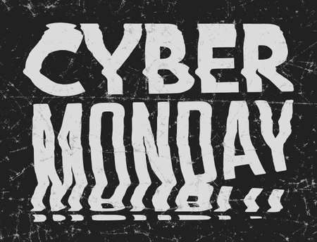 Cyber Monday Sale bad photocopy, distorted glitch art typographic poster. Glitchy words for retail sale announcement