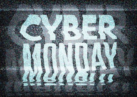 Cyber Monday Sale glitch art typographic poster. Glitchy cyber monday typography on an old tv screen with static noise, for retail sale announcement designs