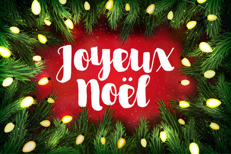 pine wreath: Joyeux Noel (French for Merry Christmas) Christmas greeting card with pine wreath and holiday greetings on red
