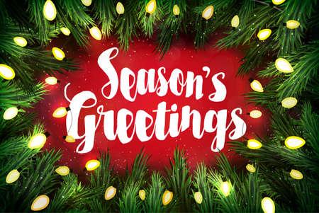 season's greeting: Seasons greetings Christmas greeting card with pine wreath and holiday greetings on red