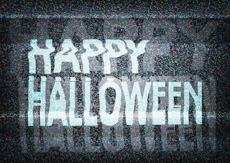 Happy Halloween message on an old  tv screen with static noise Ilustração