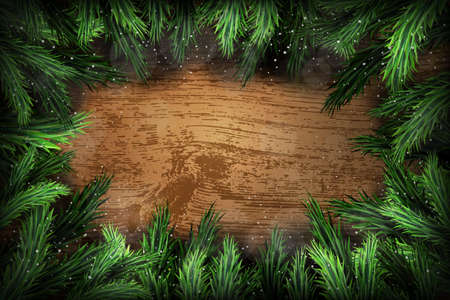 natural backgrounds: Christmas pine wreath on wooden background Illustration