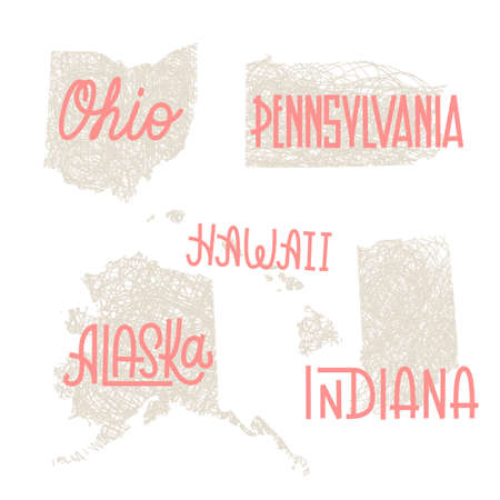 Ohio, Pennsylvania, Hawaii, Alaska, Indiana USA state outline art with custom lettering for prints and crafts. United states of America wall art of individual states Ilustrace