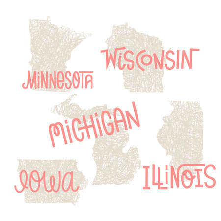 Minnesota, Wisconsin, Michigan,Iowa, Illinois USA state outline art with custom lettering for prints and crafts. United states of America wall art of individual states Ilustrace