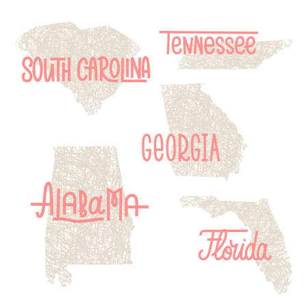 South Carolina, Tennessee, Georgia, Alabama, Florida USA state outline art with custom lettering for prints and crafts. United states of America wall art of individual states