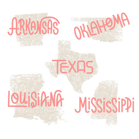 Arkansas, Oklahoma, Texas, Louisiana, Mississippi USA state outline art with custom lettering for prints and crafts. United states of America wall art of individual states