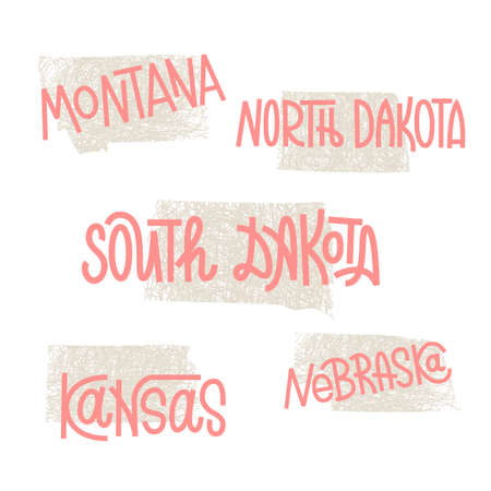 midwest: Montana, North Dakota, South Dakota, Kansas, Nebraska USA state outline art with custom lettering for prints and crafts. United states of America wall art of individual states