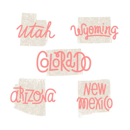 Utah, Wyoming, Colorado, Arizona, New Mexico USA state outline art with custom lettering for prints and crafts. United states of America wall art of individual states Ilustrace