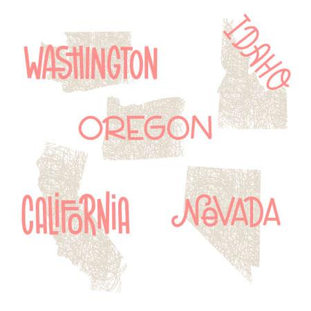 워싱턴, 아이다 호, 오 레 곤, 캘리포니아, 네바다 미국 개요 아트 인쇄 및 공예에 대 한 사용자 지정 글자. 미국의 개별 국가의 벽 예술