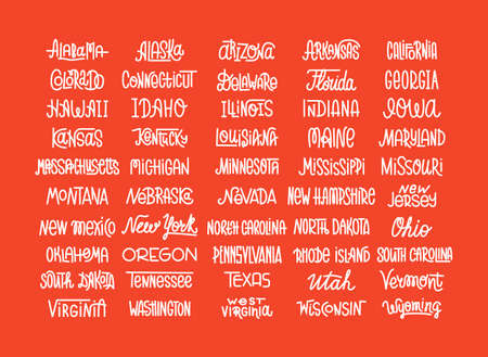 Custom lettering of the names of the American states, USA typography