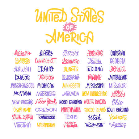 midwest: Custom lettering of the names of the American states, USA typography