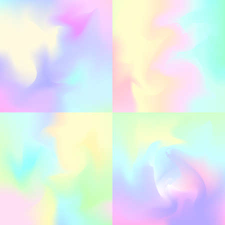 Set of 4 pastel rainbow backgrounds, hologram inspired abstract backdrops  イラスト・ベクター素材