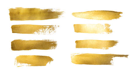 デザイン、ゴールデン ホット箔、金箔の背景に金色塗装ストロークのコレクション