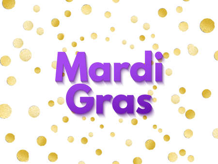 Purple Mardi Gras celebration or greeting card on golden metallic confetti background