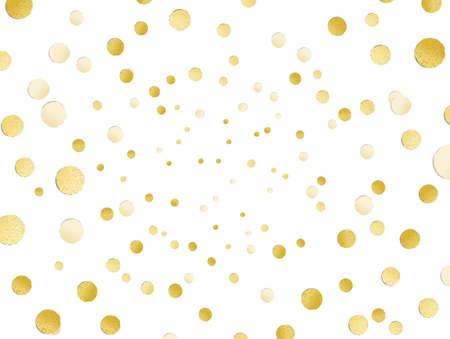 Rozproszony błyszczący złoty połysk polka dot tło, złoty liść, gorąca folia konfetti, złote metalowe dekoracji