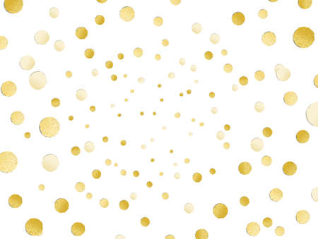 Scattered shiny golden glitter polka dot background, gold leaf, hot foil confetti, golden metallic decoration