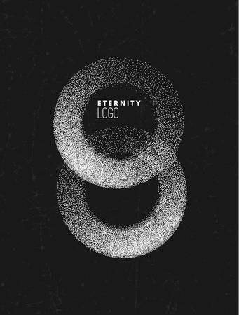 Monochrome stippled gradient eternity or number 8 , monochrome noir  with stipple effect Ilustrace