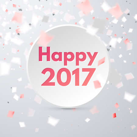 Happy 2017 holiday banner in calm clean colors with flying red and white confetti, some are out of focus