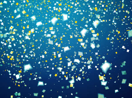 Blue holiday background with flying golden and white confetti, some are out of focus Ilustrace