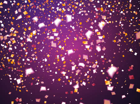 Purple holiday background with flying golden and white confetti, some are out of focus