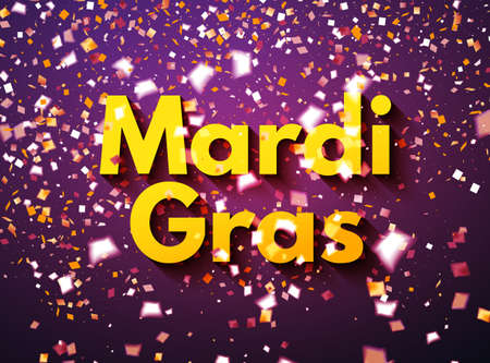 Purple Mardi Gras celebration or greeting card with flying golden and white confetti, some are out of focus