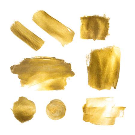 Raccolta di vernice dorata colpi per fare uno sfondo per il vostro disegno, stampa a caldo oro, foglia d'oro