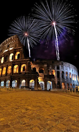 Coliseum with fireworks.